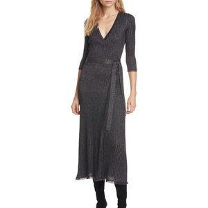 DVF Metallic Wrap Dress